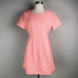 Modcloth Alice Moon Brocade Neon Pink Mini Dress M